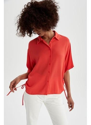 DeFacto Regular Fit Yarım Kol Gömlek Kırmızı